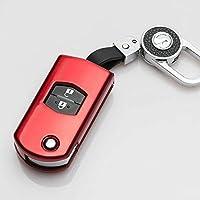 JIERS 車のキーケース,に適用する マツダ2 3 6 CX5 CX 7 CX 5 RX8 MX5、車の折りたたみキーケースカバー自動リモートキー保護シェルキーホルダーリング