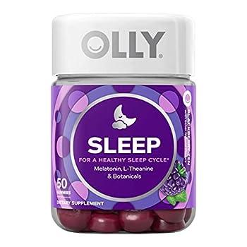 OLLY Sleep Gummy Occasional Sleep Support 3 mg Melatonin L-Theanine Chamomile Lemon Balm Sleep Aid Blackberry 50 Day Supply - 50 Count