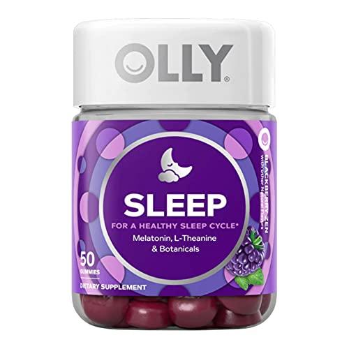 OLLY Sleep Gummy, Occasional Sleep Support, 3 mg Melatonin, L-Theanine, Chamomile, Lemon Balm, Sleep Aid, Blackberry, 50 Day Supply - 50 Count