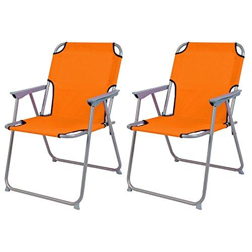2'er Set Campingstuhl Faltstuhl Stoff Oxfort Klappstuhl Anglerstuhl Regiestuhl Angelstuhl Metall B 53 x T 46 x H 74 cm, Farben:Orange