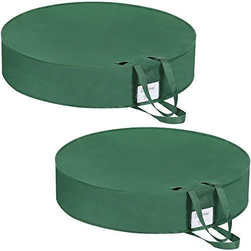 SONGMICS Aufbewahrungstaschen für Adventskranz, 2er Set, Aufbewahrung von Weihnachtsdeko, mit Griffen, Doppelreißverschluss und Etikettenhalter, 76,2 x 16 cm (Ø x H), grün RXU001G02