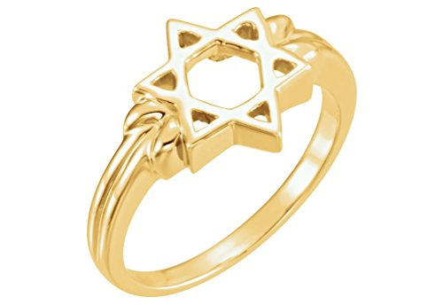 The Men's Jewelry Store (Unisex Jewelry) Star of David Semi-Polished 14k Yellow Gold Ring, Size 7