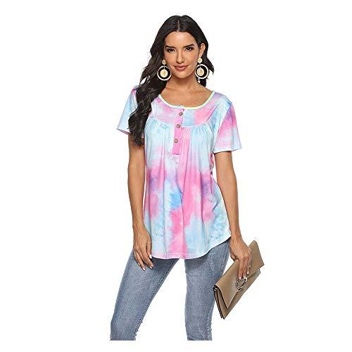 Camiseta para Mujer Botón con Cuello En V Blusa De Teñido Anudado Degradado Blusa Suelta De Manga Corta,Púrpura,M