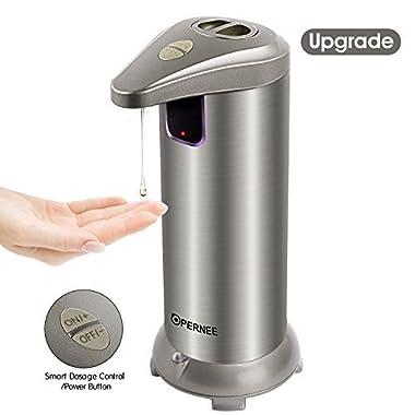 OPERNEE Soap Dispenser, Automatic Hands Free Fingerprint Resistant Stainless Steel Soap Dispenser, IR Infrared Motion Sensor Touchless Autosoap Dispenser for Kitchen Bathroom[Second Generation]