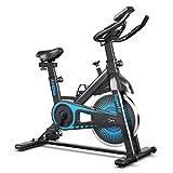 GOPLUS Indoor Cycle Bike, Heimtrainer Fahrrad mit Stufenlos Einstellbarem Widerstand, Fitnessbike mit Pulssensoren und LCD-Display, Leiser Riemenantrieb, Nutzergewicht max. 120 kg (Schwarz)
