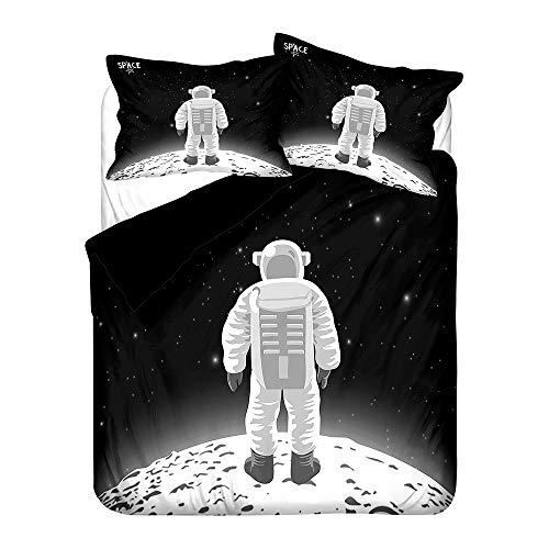 Fansu Juego de Ropa de Cama 150x200, Impresión de Dibujos Animados Microfibra Ropa de Cama de 3 Piezas con Funda Nórdica con Cremallera y 2 Funda de Almohada (Astronauta Blanco,Cama 90cm)
