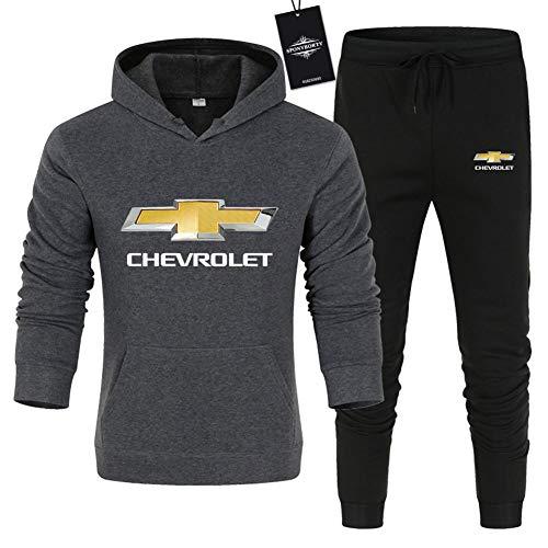 Blue-sky Herren Einfarbig Trainingsanzug Set Che.V-Rolet Jogging Anzug Kapuzen Jacke + Hose Mantel/Grau/M sponyborty