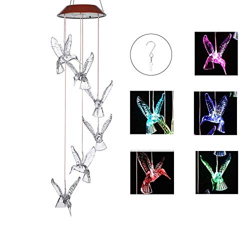 IMAGE Wind Chimes Solar Hummingbird Wind Chime Color Changing Lights Outdoor Solar Lights Hanging...