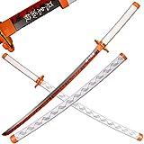 SV Wooden Japanese Anime Samurai Sword, Demon Slayer-Rengoku Kyoujurou's Samurai Sword, Long Wooden Sword 39 inches
