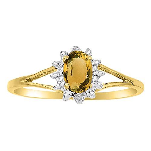 Noviembre Birthstone Anillo citrino/amarillo topacio plata de ley o amarillo chapado en oro plata de ley 925