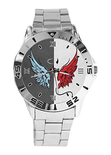 Angel Demon Wings - Orologio sportivo da polso da uomo, stile casual, cinturino in acciaio inox, analogico, al quarzo