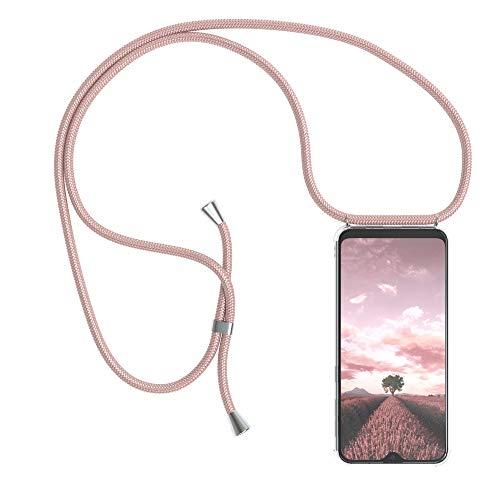EAZY CASE Handykette kompatibel mit Samsung Galaxy A20e Handyhülle mit Umhängeband, Handykordel mit Schutzhülle, Silikonhülle, Hülle mit Band, Stylische Kette mit Hülle für Smartphone, Rosé-Gold