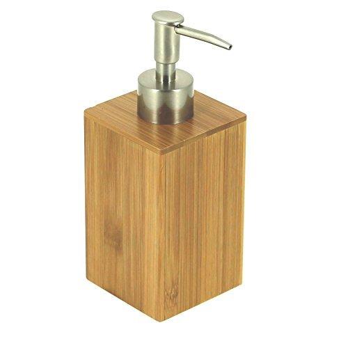 EVIDECO 6250195 Ecobio Square Bamboo Bath Soap and Lotion Dispenser Color: Brown, 2.83 L x 2.83 W x 7.09 H