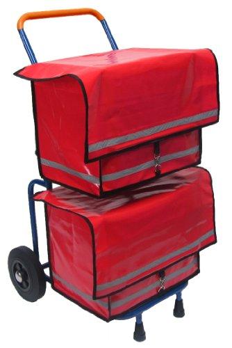 Zeitungsroller Multi2 mit Zwei roten Zeitungstaschen und Luftbereifung, Zustellerbedarf