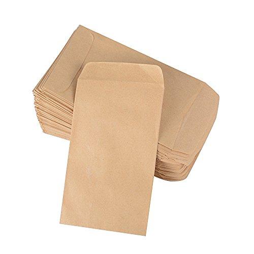 (6*10 cm) 100 Stück Mini Papiertüten Papierbeutel Kraftpapier Tüten Beutel Geschenktüten Schmucktüten Flachbeutel Braun klein für Gastgeschenke Schmuck Bonbons Süßigkeiten Samen Mitgebsel usw