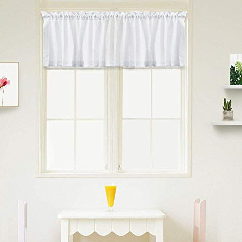 IDEALHOUSE White Curtain Valances,Draperies Curtains for Cafe,Bathroom & Kitchen or Kids Bedroom Rod Pocket Short Window Curtains (1 Panels, 15 Inch Wide by 60 Inch Long)