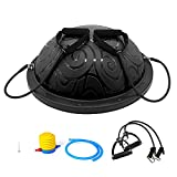 Ativafit Half Ball Balance Trainer with Straps Yoga Balance Ball Anti Slip for Core Training Home Fitness Strength Exercise Workout Gym Black