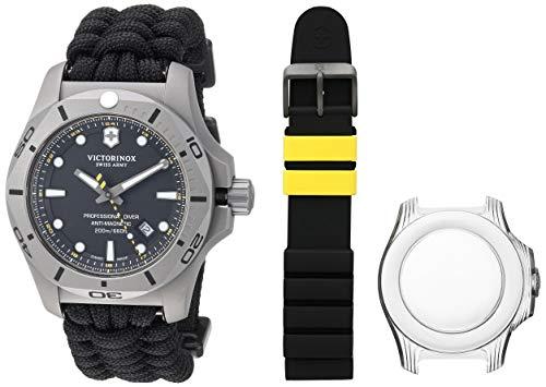 Victorinox Swiss Army Men's I.N.O.X. Titanium Swiss-Quartz Diving Watch with Nylon Strap, Black, 22 (Model: 241812)