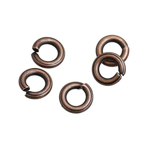 SiAura Material ® - 100 anillas abiertas de 7 mm de diámetro, color cobre rojo