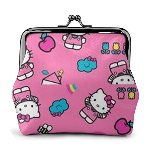Hello Kitty Cartoon Cute Coin Purse Buckle Coin Purses Wallet Change Women's Travel Makeup Wallets Vintage Kiss-Lock Pouch.