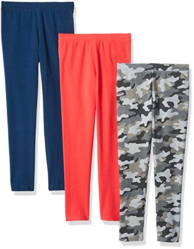 Amazon Essentials Mädchen Leggings, 3er-Pack, Camo/Pink/Blue, US XS (EU 104-110 CM)