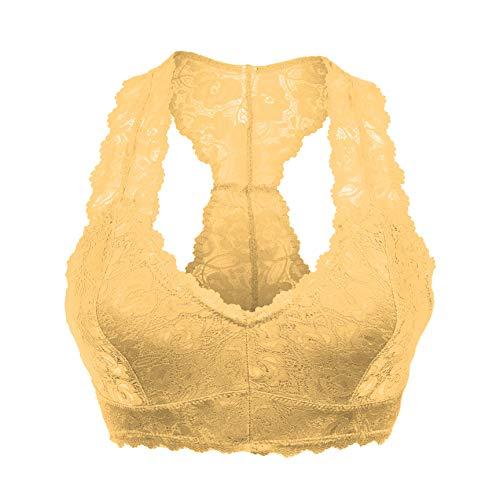 Women's Plus Padded Sports Bra Racerback Lace Bustier Plunge Bralette Breathable Crop Bra Top Peach / 2X