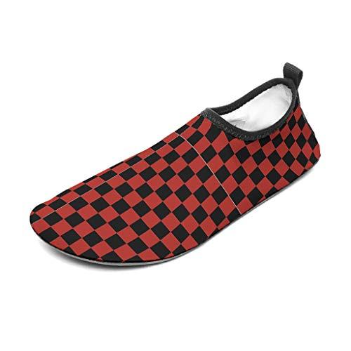 Lind88 - Zapatos de agua unisex para tablero de ajedrez, color negro y rojo, zapatos de agua para playa, piscina, surf, yoga, 44/45