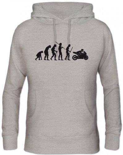 Shirtstreet24, Evolution Motorrad, Bike Sport Kapuzen Sweatshirt - Pullover S-3XL, Größe: S,Graumeliert