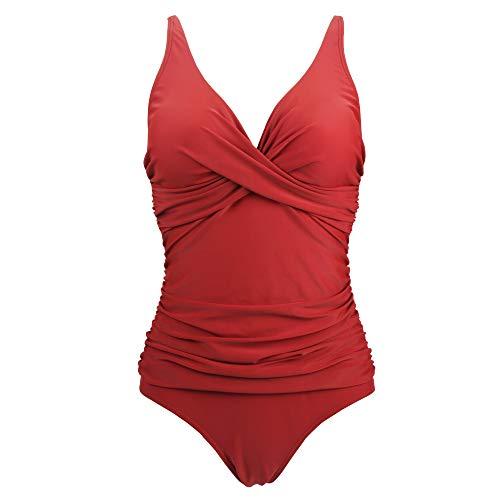 Viloree Damen Monokini Bauchweg Schlankheits Badeanzug Plus Size Badebekleidung Bauchweg für Mollige Rot XXXL