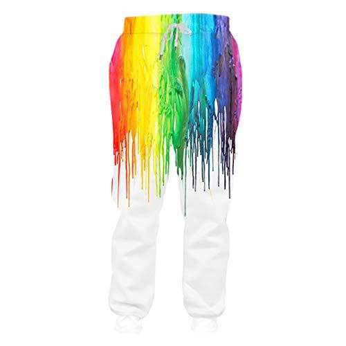 Pantalon Bouffant coloré Peinture 3D Imprimer Pantalon de Jogging Unisexe extérieur Rue Casual Hip Hop Punk Rock Fitness Pantalon de survêtement AR Pants M