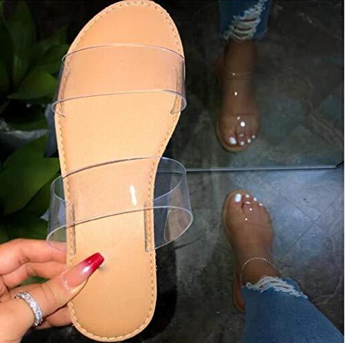 Hwcpadkj Sandalias Mujer Verano Casual Sandalias de Piel de Serpiente Color Caramelo y Pantuflas de Fondo Plano