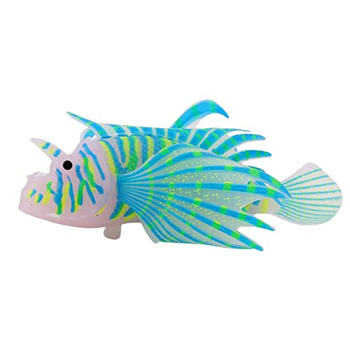 Aquarium Artificial Rotfeuerfisch Blau-Fisch-Beh?lter-Dekor-Simulation Rotfeuerfisch Glühendes Silikon Rotfeuerfisch Haus-