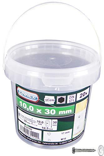 Connex Sechskant-Holzschrauben 10,0 x 30 mm - 20 Stück - Außensechskant-Antrieb - Verzinkt - Für sämtliche Holzverbindungen - Inkl. Unterlegscheiben / Schlüsselschrauben / Schrauben-Eimer / B30160