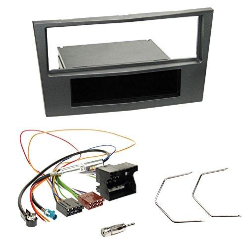 Einbauset : Autoradio Radioblende Radio Blende mit Ablagefach - charcoal + Quadlock Adapter+Antennenadapter+Entriegelungswerkzeug für Opel Antara, Astra H, Corsa D, Zafira B ab 2004