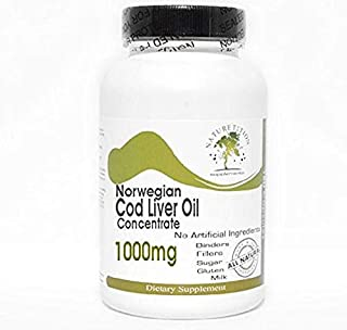 Norwegian Cod Liver Oil Concentrate 1000mg ~ 100 Capsules - No Additives ~ Naturetition Supplements