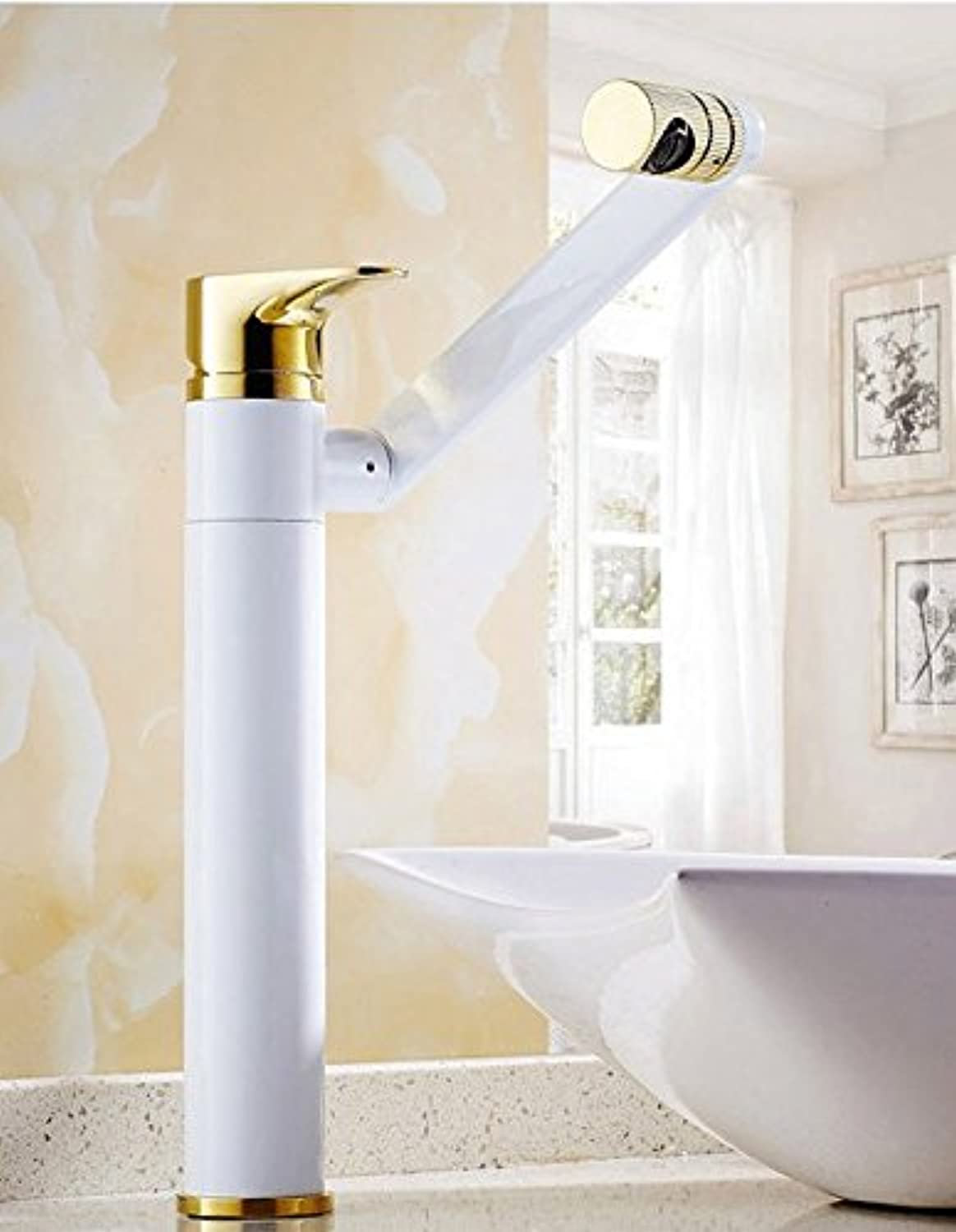 Hlluya Professional Sink Mixer Tap Kitchen Faucet Copper basin, hot and cold, and redate the 53697- 招 cat basin - White + gold plus high