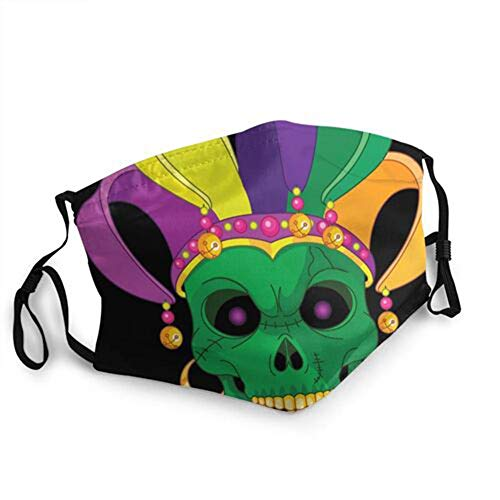 Mardi Gras Skull Mask Unisex Fashion Adjustable Breathable Safety Face Cover Washable Reusable Protective Face Mask with Nose Clip Outdoors