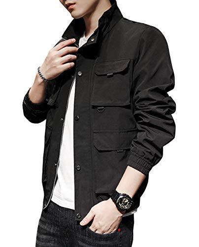 chouyatou-Mens-Casual-Military-Style-Stand-Collar-Varsity-Trucker-Bomber-Jacket-Coat