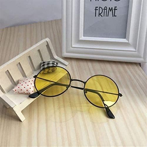 NZHK Retro Gafas de Sol Redondas Mujeres Sun vidrios de la Lente Gafas de Sol Femeninas aleación Eyewear Frame Conductor Gafas de Accesorios del Coche Gafas de Sol polarizadas (Color : Yellow)