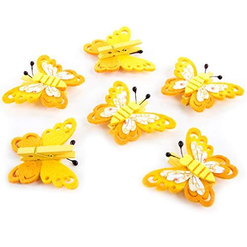 6 Stück kleine grün gelb grün mini Filz Schmetterlinge Holz-Klammern 5 x 4 cm. Zierklammern zum Basteln Wäscheklammer mini Geschenke verzieren Mädchen give-away Deko-Klammer Ostern Oster-deko