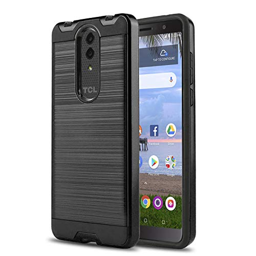 CasemartUSA Phone Case for [Alcatel TCL A1X (A503DL)], [Protech Series][Black] Shockproof Brushed Protective Cover for Alcatel TCL A1X (Tracfone, Simple Mobile, Straight Talk, Total Wireless, Net10)