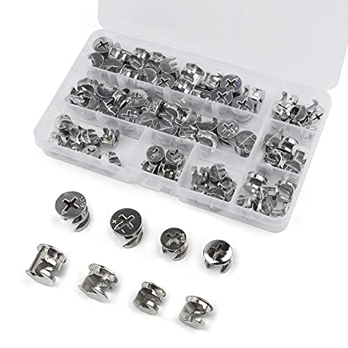 72 Pcs Furniture Connecting Cam Lock Fittings, Furniture Connecting Fastener Cabinet Connectors Hardware Bolts, Furniture Connecting Lock Nut, 4 Sizes