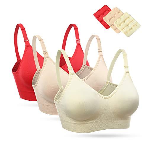 Wingslove 1-3 Pack Damen ohne Bügel Schwangerschafts Still BH Nahtlose Maternity BH Umstandsmode (3Pack-Rot,Elfenbein,Nackt, L)