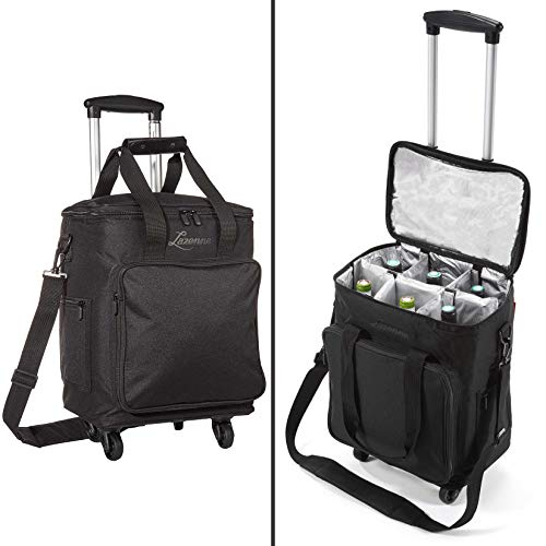 wine travel bag for luggages Lazenne Wine Bags for Travel - 6 Bottle Wine Bag/Wine Carrier - Wine Luggage for Professionals and Consumers. 3-in-1 Wine Tote, Rolling Suitcase and Insulated Cooler Bag with Removable Dividers