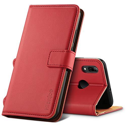 Hianjoo Hülle Kompatibel für Huawei P Smart 2019, Handyhülle Tasche Premium Leder Flip Wallet Hülle Kompatibel für Huawei Honor 10 Lite [Standfunktion/Kartenfächern/Magnetic Closure Snap],Rot