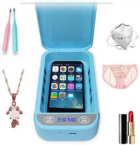 AMITD UV-Desinfektion Box Sanitizer Prevent Flu für Masken iPhone UV-Licht Telefon Sterilisator Box Schmuck Telefone Reiniger Personal Sanitizer Desinfektion Schrank mit Aromatherapie,Weiß