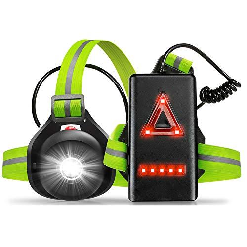 Anecity Lauflicht, LED Brustlampe,USB wiederaufladbare Lauflampe 90°Einstellbarer Abstrahlwinke,500 Lumen Lampe zum Laufen, Wasserdicht Jogging Licht zum Joggen Nacht Angeln Campen Wandern
