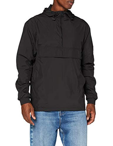 Build Your Brand Mens Basic Pull Over Jacket Windbreaker, Black, L