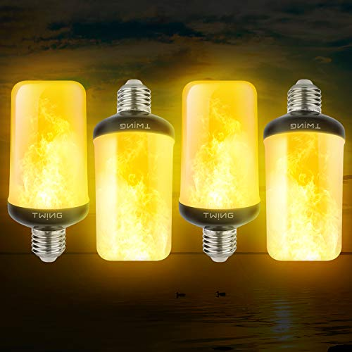 LED Flame Effect Light Bulbs 6W 4 Modes E26/E27 Base Flickering Fire Light Bulbs with Gravity Sensor for Halloween Christmas Indoor Outdoor Home Decor (4 Pack)
