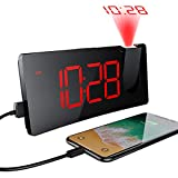 Alarm Clocks, PICTEK Projection Alarm Clock with 5'' LED Curved-Screen, 4-Level Dimmer, USB